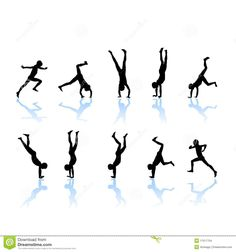 Man Doing A Back Somersault In Sillhouette Clipart