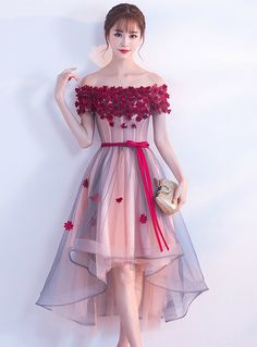 Silhouette:a-line Hemline:hi lo Neckline:off the shoulder Fabric:tulle Sleeve Style:sleeveless Color:pink Back Style:lace up Embellishment:appliques