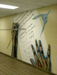 Mural ideas for High School Hallways - math theme School Hallways, School Murals, High School Art, Middle School Art, Math Teacher, School Classroom, Classroom Walls, Classroom Decor, Teaching Schools