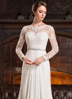 A-Line/Princess Scoop Neck Court Train Chiffon Lace Wedding Dress With Ruffle Beading Sequins (002056220) - JJsHouse
