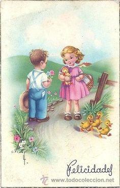 Vintage Easter, Cute Images, Morning Images, Happy Saturday, Bottle Crafts, Vintage Pictures, Big Eyes, Poster, Vintage Cards