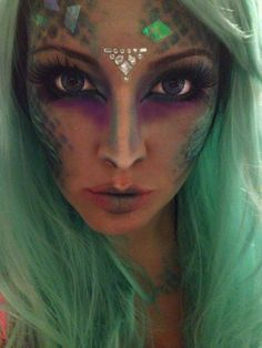 Mermaid makeup... maybe I can change the scales to vines for more of a spring goddess vibe
