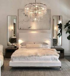 Luxury All White Bedroom Decor Luxury bedroom with white bed, white walls, chrome assents, crystal chandaleer, and sheepskin blanket White Bedroom Decor, Cozy Bedroom, Home Decor Bedroom, Budget Bedroom, Ikea Bedroom, Bedroom Brown, White Bedroom Furniture Elegant, Scandinavian Bedroom, Bedroom Art
