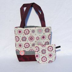 Pretty Pink Floral Girls Tote and Coin Purse Set Mini Tote Bag