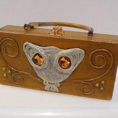 Enid Collins Paper Mache Box Purse Vintage Owl by plattermatter