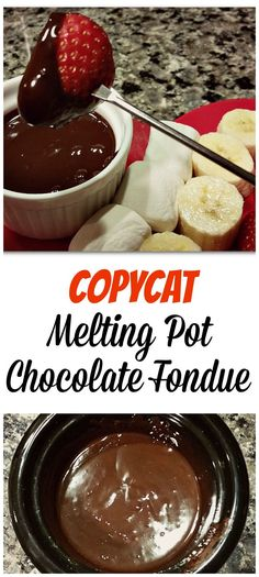 Copycat Melting Pot Chocolate Fondue with Grand Marnier! Perfect dessert for Valentine's Day. Both vegan-friendly and gluten-free.