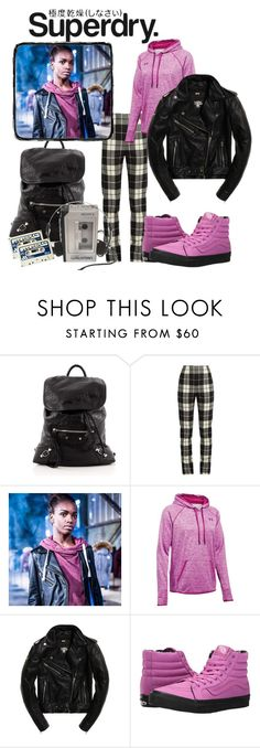 """""""The Cover Up – Jackets by Superdry: Contest Entry"""" by raina1060 ❤ liked on Polyvore featuring Balenciaga, Superdry, MaxMara, Under Armour and Vans"""