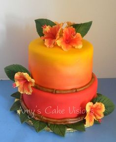 Luau I used my airbrush to get the sunset effect. Gumpaste Hibiscus. Inspiration found on Cake Central.