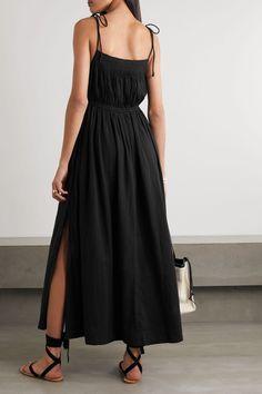 APIECE APART Black Cotton Spaghetti Strapped Midi Dress - We Select Dresses Classic Black Dress, Feel Fantastic, Vacation Dresses, Summer Looks, Black Cotton, Designer Dresses, Organic Cotton, Dress Up, How To Wear