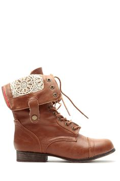 Chestnut Faux Leather Crochet Fold Over Combat Boots @ Cicihot Boots Catalog:women's winter boots,leather thigh high boots,black platform knee high boots,over the knee boots,Go Go boots,cowgirl boots,gladiator boots,womens dress boots,skirt boots.