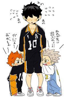 The little giant with tiny Hinata and Bokuto Haikyuu Kageyama, Haikyuu Funny, Kagehina, Haikyuu Fanart, Kuroo, Haikyuu Anime, Hinata, Nishinoya Yuu, Little Giant Haikyuu