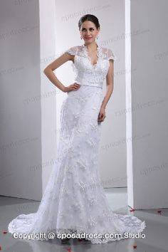 2013 Exquisite V Neckline Sweep Train Lace Wedding Dress With Sleeves