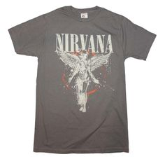 Officially licensed Nirvana t-shirt featuring an In Utero album front print. Men's standard fit t-shirt. 100% preshrunk cotton. Slate gray color.
