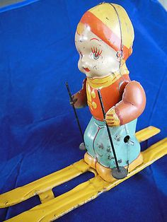 Unique Vintage Wind Up Toy J Chein Co Skier CA 1930 40's Tin Litho