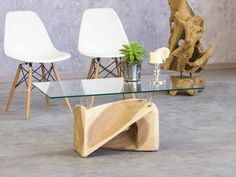 Exceptional Coffee Table made of wood (Suar tree) and glass / size 95x65cm – a unique product by Picassi_de via en.DaWanda.com