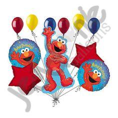 11pc Lot Elmo Happy Birthday Balloon Bouquet Decoration Sesame Street Friend