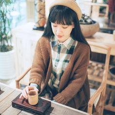 Love the layering + colors  Mori kei