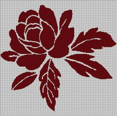 Rose - flower silhouette cross stitch pattern in pdf -Chart Needlework Learn Embroidery, Cross Stitch Embroidery, Embroidery Patterns, Hand Embroidery, Butterfly Cross Stitch, Cross Stitch Rose, Cross Stitch Flowers, Cross Stitch Pattern Maker, Cross Stitch Charts