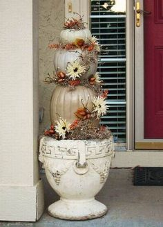 Classy Pumpkin Arrangement  I HAVE THE POT. NEED SOME PAINT ADD MY WHITE PUMPKINS     V0ILA