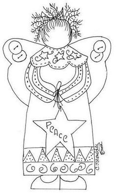 a lovely primitive angel so sweet to embroider Wool Applique Patterns, Embroidery Applique, Cross Stitch Embroidery, Embroidery Patterns, Primitive Embroidery, Primitive Stitchery, Zentangle, Angel Crafts, Christmas Coloring Pages