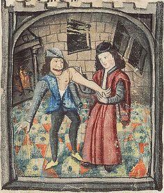 Grabado medieval de médico colocando brazo dislocado (1450)