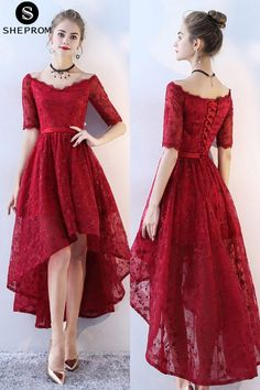 Only $88, Burgundy Lace High Low Prom Homecoming Dress Vneck with Sleeves #BLS86053 at SheProm. #SheProm is an online store with thousands of dresses, range from Prom,Homecoming,Formal,Red,Lace Dresses,Short Dresses,Off the Shoulder Dresses and so on. Not only selling formal dresses, more and more trendy dress styles will be updated daily to our store. With low price and high quality guaranteed, you will definitely like shopping from us. Shop now to get $5 off!