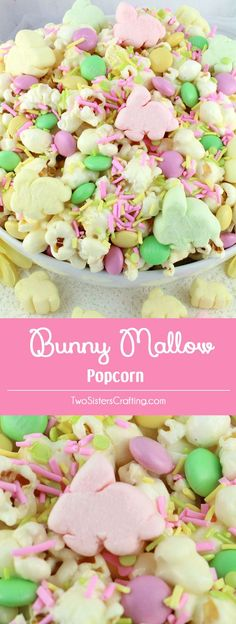 Bunny Mallow Popcorn - a fun Easter treat. Sweet, salty, crunchy and delicious and it is so easy to make. This delicious Easter dessert is made with popcorn, adorable Easter Bunny marshmallows and yummy crunchy M&M candy. Pin this great Popcorn recipe for later and follow us for more fun Easter Food ideas.