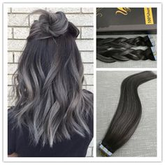 Balayage Remy Tape In Human Hair Extensions Sliky Straight Black with Silver #Ugea