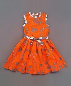 Another great find on #zulily! Orange & Gray Barceloneta Dress - Infant, Toddler & Girls #zulilyfinds