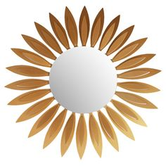 Sunflower-inspired wall mirror with a lasercut metal frame.      Product: Wall mirrorConstruction Material: Metal...