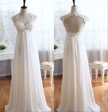 2017 Elegant Simple Wedding Dresses Pregnant Cap Sleeve Beach Chiffon weddingdress
