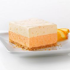 Orange Dream Layered Squares - Two layers of orange creaminess on top of a graham cracker crust make a bright and refreshing dessert,, Here is a fun recipe that has many flavor options if you are willing to experiment