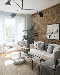 Living Room White Brick Wall Ideas Ideas For 2019 Brick Wall Living Room, Brick Interior Wall, House Interior, Chic Living Room, Apartment Decor, Brick Living Room, Home, Apartment Living Room, Farm House Living Room