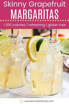 Skinny Grapefruit Margaritas - made with fresh lemon, lime, and grapefruit juice, tequila, and flavored seltzer, then lightly sweetened, this margarita recipe has less than 200 calories per large drink. Make individual cocktails or pour everything into a pitcher for a Cinco de Mayo party or summer barbecue. Tequilla Cocktails, Refreshing Cocktails, Fun Cocktails, Party Drinks, Fun Drinks, Yummy Drinks, Cold Drinks, Beverages, Grapefruit Margarita Recipe