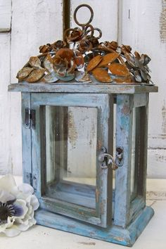 Blue ornate display box wood glass metal by AnitaSperoDesign, $85.00