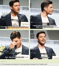 [GIFSET] Shy Jensen #SDCC14 the way his face glows n he smiles on the third gif is so sweet. When fans tell him they love him he truly believes it and it touch him and makes him happy and he genually appreciate it unlike other celebrities who pretend they do. Jesen is extremely kind ans pure hearted. Hes a guy who hollywood and showbiz didn't turn him into a fake person.