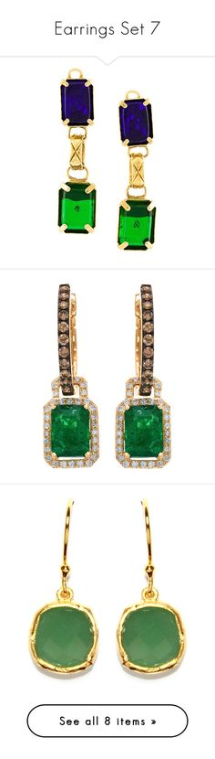 """""""Earrings Set 7"""" by jjsunnygirl ❤ liked on Polyvore featuring jewelry, earrings, chanel, green, green earrings, vintage jewelry, chanel jewellery, chanel earrings, gold and 14k diamond earrings"""