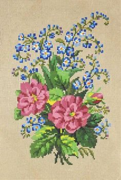 A Berlin WoolWork Floral Spray Pattern Fabric Painting Tutorial: Within this tutorial we'll show you Cross Stitching, Cross Stitch Embroidery, Hand Embroidery, Embroidery Designs, Cross Stitch Charts, Cross Stitch Designs, Cross Stitch Patterns, Paint Charts, Vintage Cross Stitches