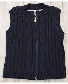 Colete tricot com zíper marinho forro peluciado MissFloor
