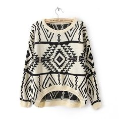 Queen's Park Long Sleeve Geometric Pullovers Sweater for Women (White, Size Available : one-size. / Shoulder : 60CM. Bust : 56CM. Length : 58-75CM. Sleeve Length : 46CM.) $ 12.84