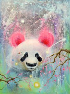 This is a x 11 Panda Bear fine art print made from my original painting titled Polaris. It was made with acrylic paints on canvas and features Panda Background, Art D'ours, Panda Art, Bear Art, Art Party, Psychedelic Art, Princesas Disney, Acrylic Painting Canvas, Christmas Art