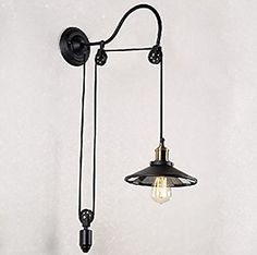 HAIXIANG Retro Industrial Style Wrought Iron Long Arm Pole Wall Lamp Swing Arm Wall Mount Light Sconces - - Amazon.com