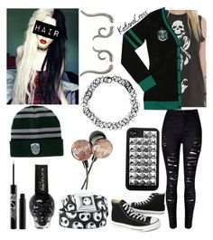 """""""Style #402"""" by katlanacross ❤ liked on Polyvore featuring Converse, Urban Decay and Elope"""