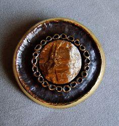 Reino Saastamoinen ~vintage bronze and tiger's eye brooch, 1960's.