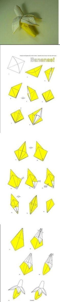 กล้วย Origami – Origami World Diy Origami, Origami And Kirigami, Origami Fish, Paper Crafts Origami, Diy Paper, Oragami, Origami Monkey, Origami Ship, Origami Instructions