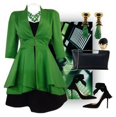"""""""Emerald City"""" by easy-dressing ❤ liked on Polyvore featuring Claude Montana, Delpozo, Valentin Magro and Gianvito Rossi"""