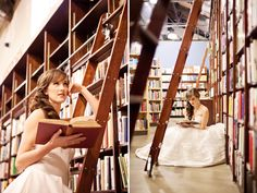 wedding photo shoot in a bookstore (or library?). I like that picture on the right.  It's like Belle in beauty and the beast... I would!