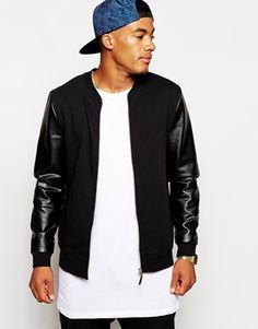 70f4eaea460 ASOS Bomber In Jersey With Leather Look Sleeves Bomber Jackets