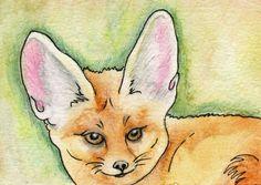 ACEO Original Pencil and Ink Art Drawing Fennec Fox Wildlife Art-Carla Smale #Impressionism