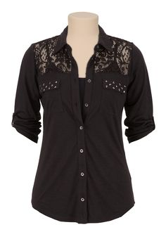 Stud Pocket Lace Shoulder Button Down Shirt - maurices.com Blusas De Gasa e170d72046103